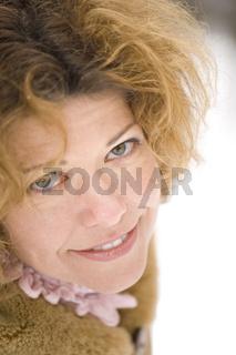 portrait woman in park macro