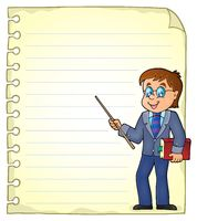 Notebook page with man teacher - picture illustration.