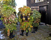 Ugly St Sylvester mummers extending New Year's greetings, Urnäsch Silvesterkläuse procession