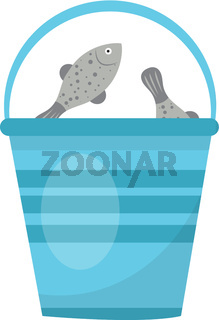 Bucket of fish. icon flat, cartoon style. Isolated on white background. Vector illustration, clip-art.