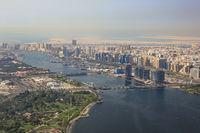 Dubai The Creek Floating Bridge Brücke Luftaufnahme Luftbild