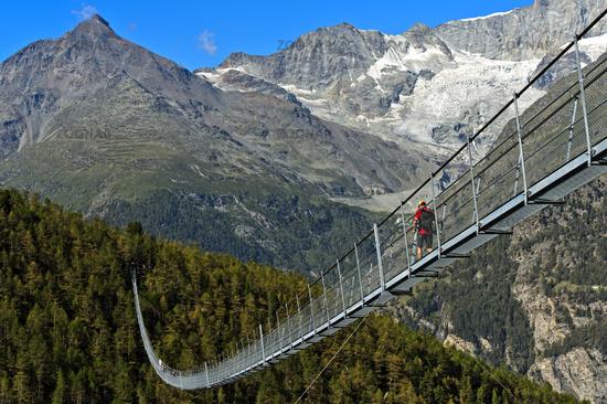 Charles Kuonen Suspension Bridge, the world's longest pedestrian suspension bridge,Randa,Switzerland