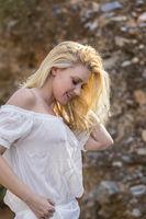 Blonde Model Posing Outdoors