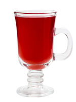 Mulled red wine glass isolated on white