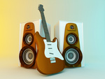 Guitar and louspeakers. 3d