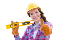 Female Construction Worker with Thumbs Up Holding Level Wearing Gloves, Hard Hat and Protective Goggles On White