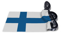 notenschlüssel und flagge von finnland - 3d illustration