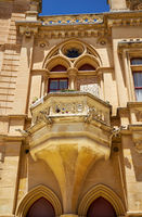 Decorative balcony above the portal to the Bishop's Palace in Mdina. Malta