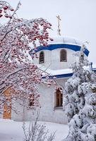 Parish of the Annunciation in Novosibirsk in winter season