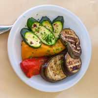 above view of portion of grilled vegetables
