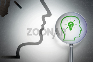 Advertising concept:  Head With Lightbulb with optical glass on digital background