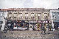 Downtown square in Haderslev city in Denmark