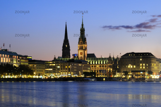 Hamburg, Germany, Alster Lake with Town Hall