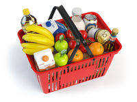 Shopping market basket with variety of grocery products isolated on white background.