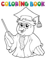 Coloring book owl teacher theme 3 - picture illustration.