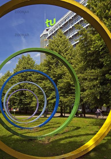 TU Dortmund University with artwork and Mathetower, Dortmund, Ruhr Area, Germany