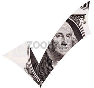 Dollar tick isolated in white