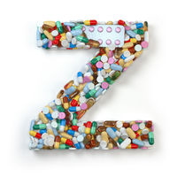 Letter Z. Set of alphabet of medicine pills, capsules, tablets and blisters isolated on white.