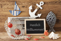 Chalkboard With Summer Decoration, Willkommen Means Welcome