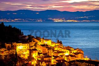 Moscenicka draga village waterfront at dawn