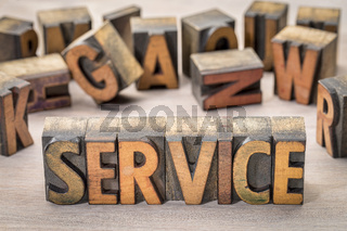 service word abstract in wood type