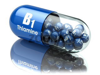 Vitamin B1 capsule. Pill with thiamine. Dietary supplements.