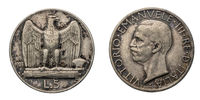 five 5 Lire silver Coin 1928 Eagle arms Vittorio Emanuele III Kingdom of Italy