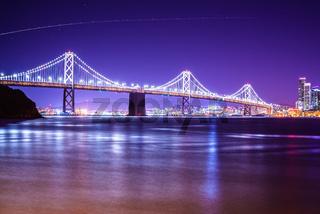 oakland bay bridge views near san francisco california in the evening