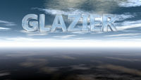 the word glazier in glass under cloudy sky - 3d rendering