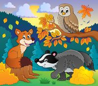 Forest wildlife theme image 2 - picture illustration.
