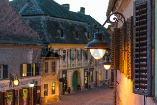 The historical center of Sibiu during dawn