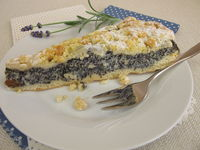 Poppy seed cake with sweet crumbs topping and powdered sugar