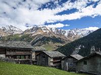 traditional swiss alps houses in vals village alpine switzerland