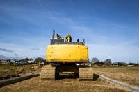 Rear end of an excavator machine