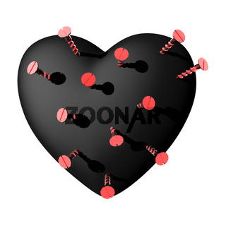 love heart with screw