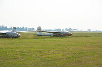 Old gliders on the airfield.