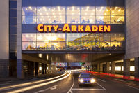 city arcades in dawn, Wuppertal, Bergisches Land, North Rhine-Westphalia, Germany, Europe