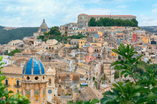 Colorful houses in old medieval village Ragusa in Sicily