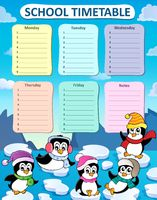 Weekly school timetable composition 2 - picture illustration.