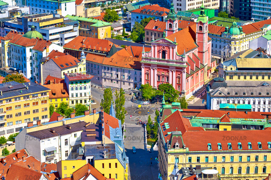 Ljubljana city center and Presern square aerial view