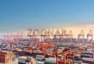 shanghai container terminal at dusk