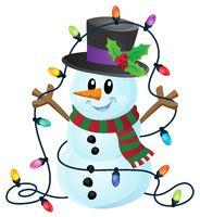Snowman with Christmas lights image 1