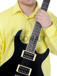 man with black guitar.