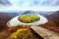 Saar river bend near Taben-Rodt on a cold day in winter