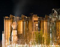 Illuminated Chemical Plant at night