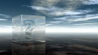 fragezeichen in glaswürfel unter wolkenhimmel - 3d illustration