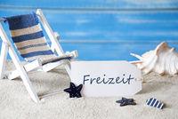 Summer Label With Deck Chair, Freizeit Means Leisure Time