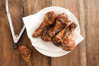 Fried chicken legs on plate