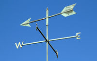 Weather vane and blue sky.
