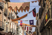 Flags, traditional medieval festival in the streets of Alcala de Henares, Madrid Spain